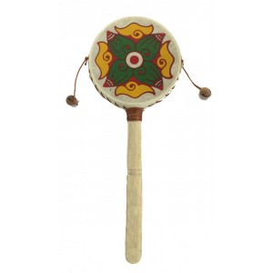 Monkey Drum - Abstract Flower Design - Great Sound, Fair Trade, Brightly Painted - Ideal for Kids