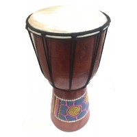 Authentic Dot Painted 25 cm high Hand Carved Djembe Drum - Fair Trade