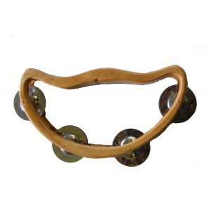 Wooden Half Moon Headless Tambourine / Shaker with 4 Jingles - Beautiful Sound, Fair Trade
