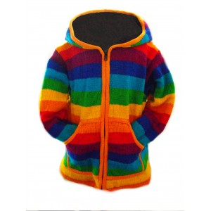 Fair Trade Rainbow Woollen Fleece lined Jacket