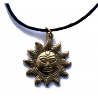 Hand Cast Bronze sun pendant necklace on adjustable waxed cotton cord. Handmade in Kathmandu