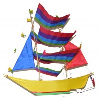 Large Colourful Handmade Sailing Boat / Pirate Boat Kite - Fair Trade