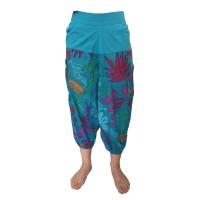 Fair Trade Bright Blue Cotton Cropped 3/4 Length Beach Trousers