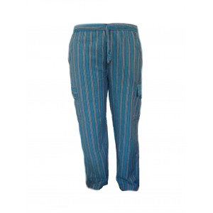 Fair Trade Stripey Elasticated Cotton ' Baggies ' Trousers