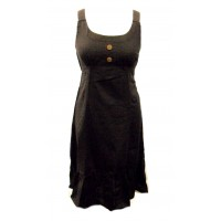 Black Handloom Cotton Anna Linen Effect Short Dress with Ruffle - Fair Trade