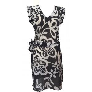 100% Soft Cotton Black & White Carina Short Summer Dress / Long Top / Kaftan - Fair Trade