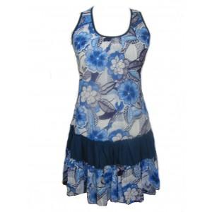 100% Floaty Cotton Short Bold Blue / White Flower Design Pippa Sundress / Short Shift Dress - Fair Trade