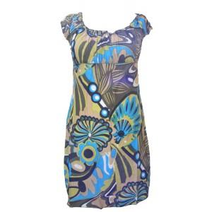 100% Soft Cotton Short Blue / Green Shelley Bold Patterned Summer Dress / Long Top - Fair Trade