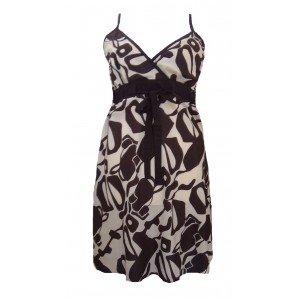 Short Brown and Cream Friesian Print Florence Dress / Sundress - Fair Trade