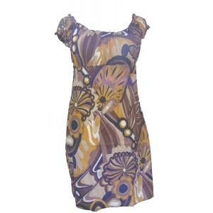 100% Soft Cotton Short Brown / Yellow Shelley Bold Patterned Summer Dress / Long Top - Fair Trade