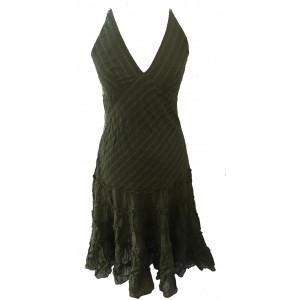 Classic Army Green Indian Cotton Maria Short Summer Sun Dress - Fair Trade 100% Cotton