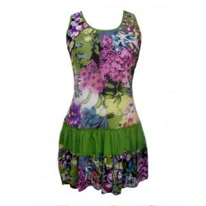 100% Floaty Cotton Short Bold Green / Multicoloured Flower Design Pippa Sundress / Short Shift Dress - Fair Trade