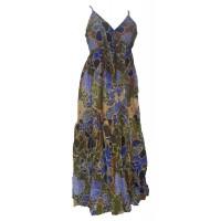 100% Soft Cotton Bold Bright Blue Flower Patterned Long Louisa Summer Maxi Dress  - Fair Trade