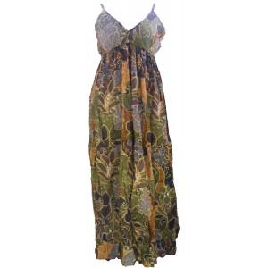 100% Soft Cotton Bold Earthy Brown Flower Patterned Long Louisa Summer Maxi Dress  - Fair Trade