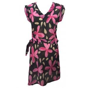 100% Soft Cotton Pink Carina Short Summer Dress / Long Top / Kaftan - Fair Trade