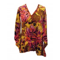 Ethnic Bold Flower Print Pink & Yellow Abbie Blouse - Fair Trade 100% Cotton