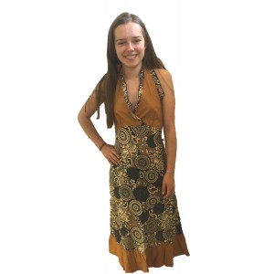 Feminine Mustard Paisley Print Yvetta Summer Dress - Fair Trade 100% Cotton