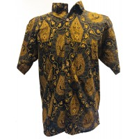 Vintage Black / Brown Batik Short Sleeve Shirt - Batik from Solo, Indonesia - Fair Trade