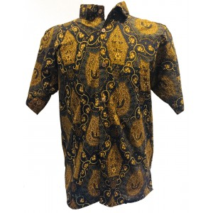 Vintage Black / Brown Batik Short Sleeve Shirt - Batik from Solo, Indonesia - Fair Trade