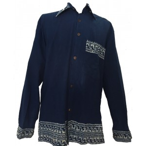 Blue Traditional Blockprint Cotton Mens Long Sleeve Shirt - Fair Trade