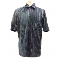 Blue / Green Striped Blockprint Cotton Mens Short Sleeve Shirt - Fair Trade