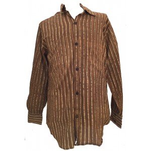 Light Brown / Dark Brown Striped Blockprint Cotton Mens Long Sleeve Shirt - Fair Trade