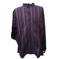 Purple / Blue / Red Striped 100% Cotton Collarless Grandad Shirt - Fairtrade