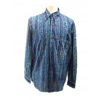 Blue Turquoise Wavy Blockprint Cotton Mens Long Sleeve Shirt - Fair Trade