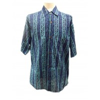 Blue Turquoise Wavy Blockprint Cotton Mens Short Sleeve Shirt - Fair Trade