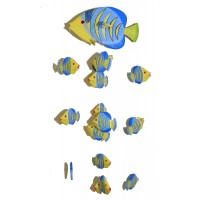Fair Trade Hand Painted Yellow Balinese Kissing Fish Mobile