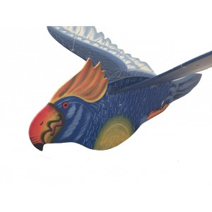 Fair Trade Hand Painted Blue Flapping Parrot Mobile / Hanging