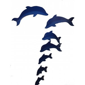 Fair Trade Hand Painted Blue School of  Dolphin Mobile