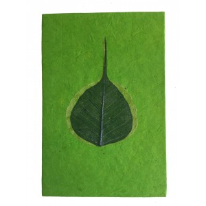 Fair Trade Handmade Nepali Lokta Paper Green Peepal Leaf Notepad