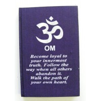 Purple Om Affirmation Hardback Notebook / Journal - Unlined Pure White Paper - 54 Sheets - Fair Trade