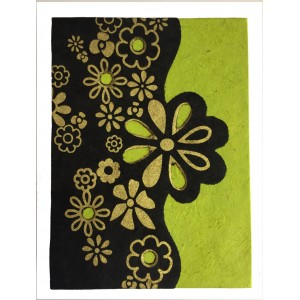 Fair Trade Handmade Nepali Lokta Paper Green, Black & Gold Flower Book