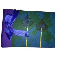 Medium Beautiful Handmade Paper Peacock Feather Traditional Photo Album - Fair Trade