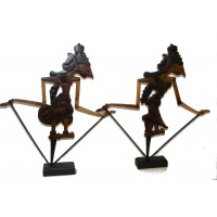Genuine Traditional pair of Large Rama and Sinta Wayang Klitik Flat Wooden Rod Puppets