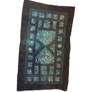 Rajasthani Embroidered  Wall Hanging - Beautiful Vintage Turquoise with Gold Sequins Traditional Rajasthani Design - Unique Work of Art