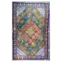 Rajasthani Embroidered Wall Hanging - Beautiful Purple, Green, Maroon & Gold Traditional Geometric Design - Unique Work of Art