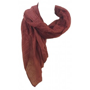 Fair Trade Cotton Hand Printed Maroon Ram Nami Scarf