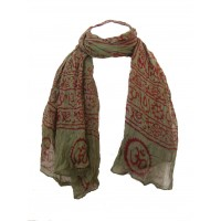 Fair Trade Cotton Hand Printed Green Ram Nami Scarf