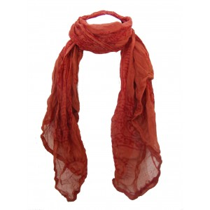 Fair Trade Cotton Hand Printed Orange / Red  Ram Nami Scarf