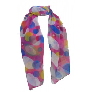 Fair Trade Bright Pink Circle Design Floaty Chiffon Scarf