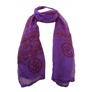 Fair Trade Cotton Hand Printed Purple Ram Nami Scarf