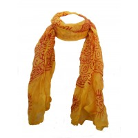 Fair Trade Cotton Hand Printed Yellow Ram Nami Scarf