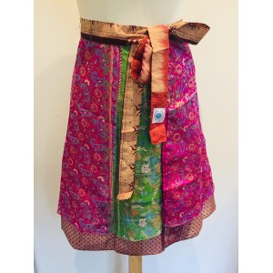 Fair Trade Short Sari Silk  Reversible Tiered Wrap Skirt - Terracotta / Pink Design