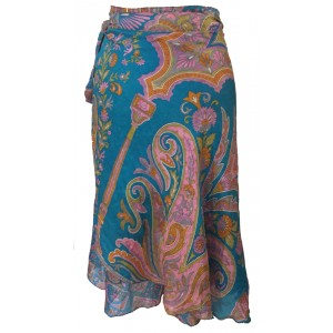 Fair Trade Short Vintage Sari Silk  Reversible Wrap Skirt - Classic Blue Design