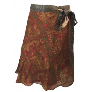 Fair Trade Short Sari Silk  Reversible Wrap Skirt - Yellow / Brown  Classic Design