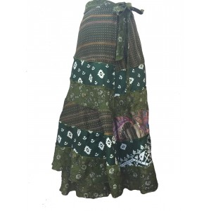 Fair Trade Tiered Full Length Sari Silk  Reversible Wrap Skirt - Shades of Green Design