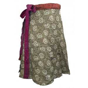 Fair Trade Short Sari Silk  Reversible Wrap Skirt - Green / Orange  Classic Design